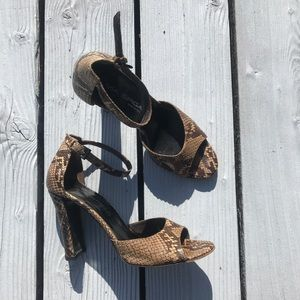 Via Spiga Python Open Toe Heels Sandals